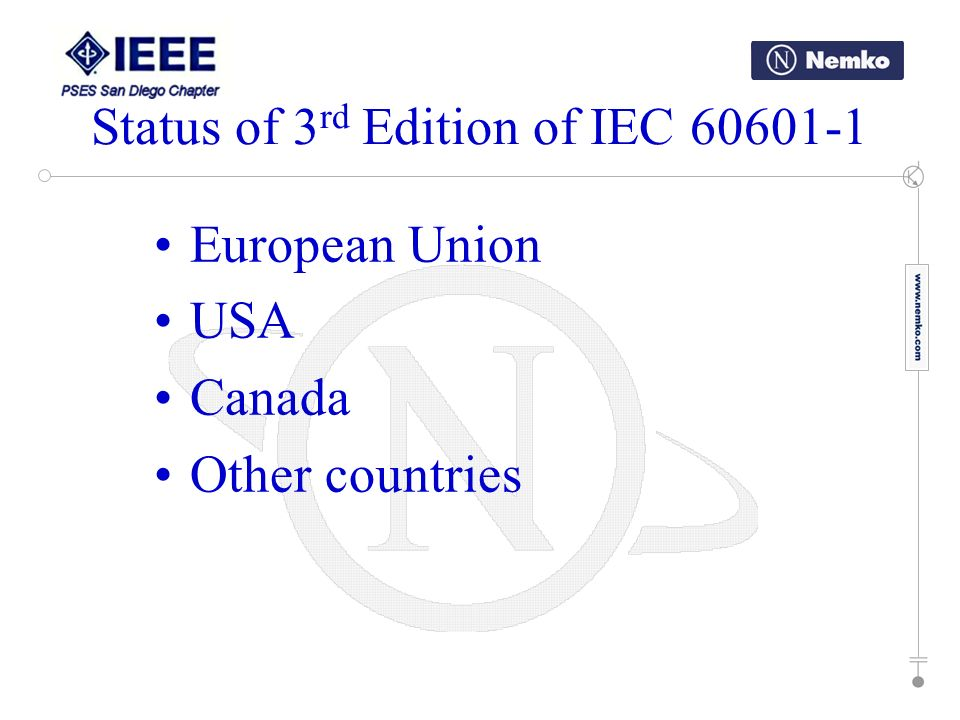 European Union USA Canada Other countries Status of 3 rd Edition of IEC 60601-1