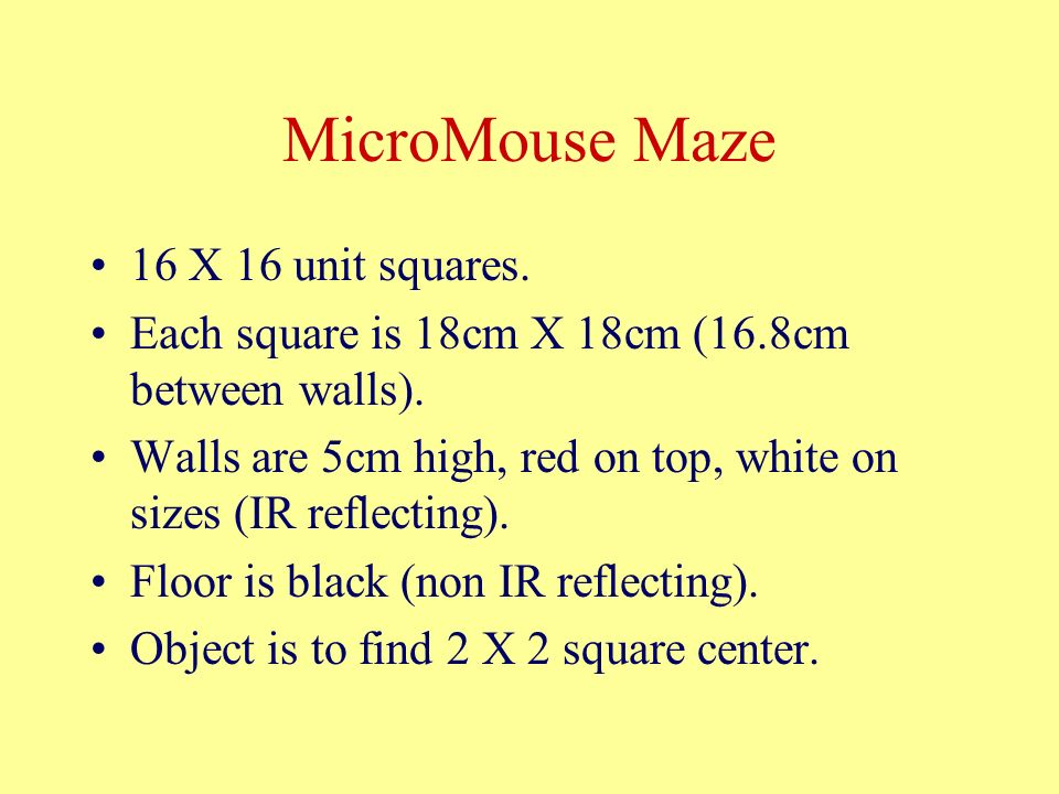 MicroMouse Maze 16 X 16 unit squares. Each square is 18cm X 18cm (16.8cm between walls).
