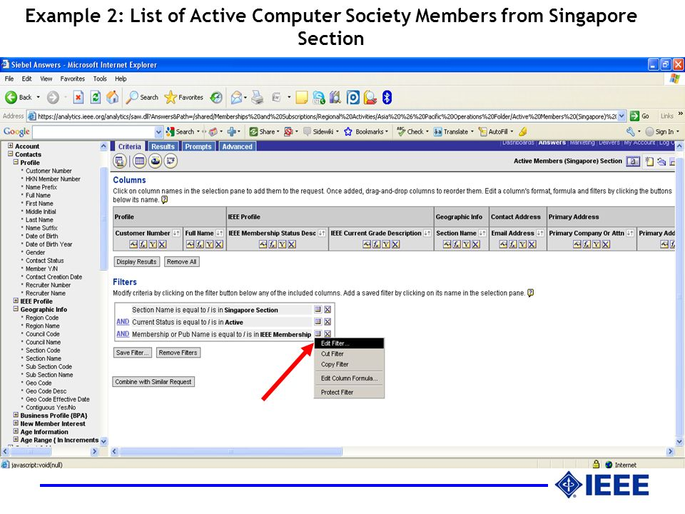 Example 2: List of Active Computer Society Members from Singapore Section