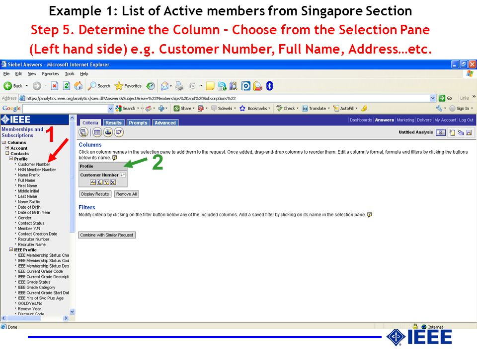 Example 1: List of Active members from Singapore Section Step 5.