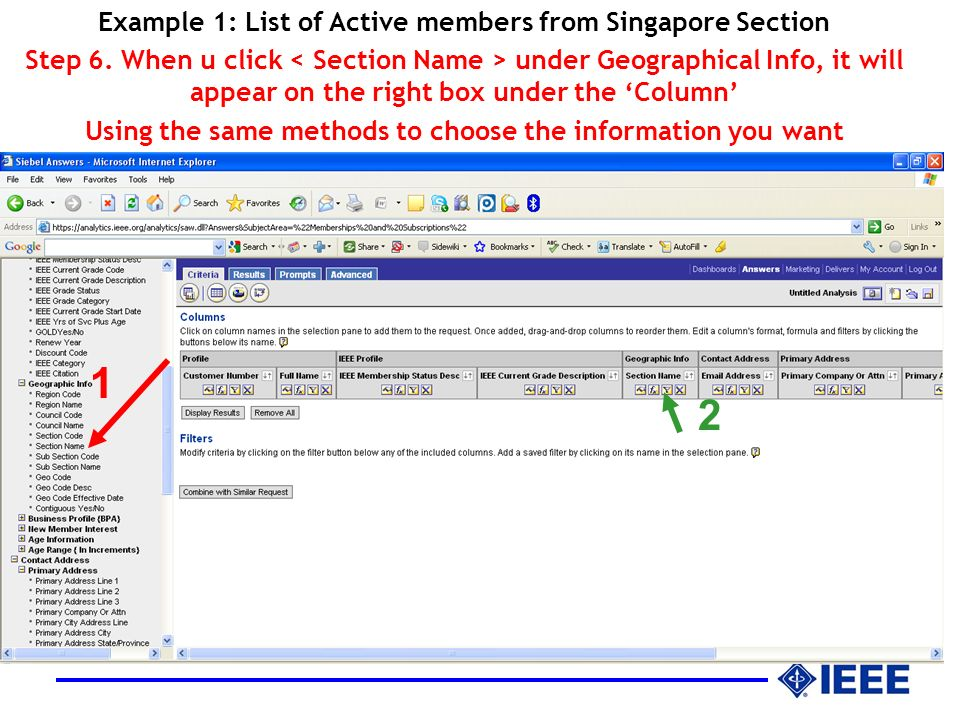 Example 1: List of Active members from Singapore Section Step 6.