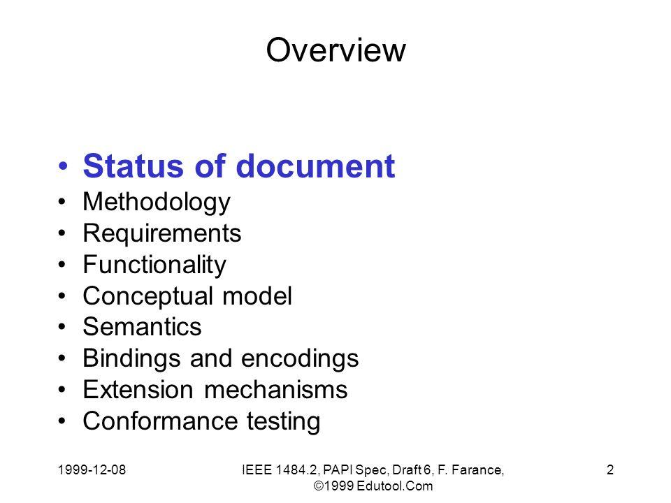 1999-12-08IEEE 1484.2, PAPI Spec, Draft 6, F.Farance, ©1999 Edutool.Com 23 Codings vs.