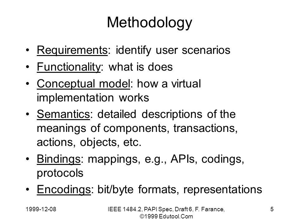 1999-12-08IEEE 1484.2, PAPI Spec, Draft 6, F.Farance, ©1999 Edutool.Com 6 Why Methodology.