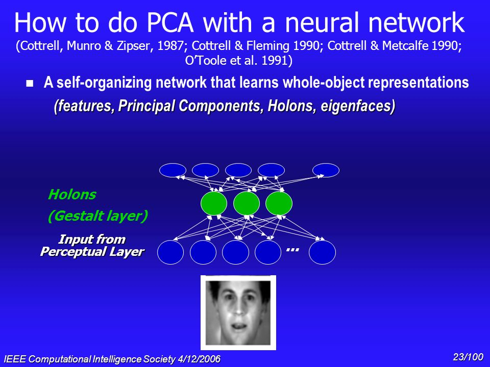 IEEE Computational Intelligence Society 4/12/2006 22/100 How to do PCA with a neural network (Cottrell, Munro & Zipser, 1987; Cottrell & Fleming 1990;