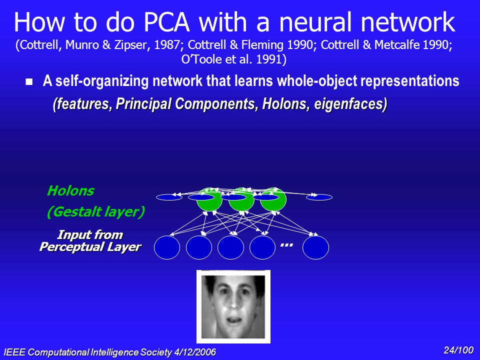 IEEE Computational Intelligence Society 4/12/2006 23/100 How to do PCA with a neural network (Cottrell, Munro & Zipser, 1987; Cottrell & Fleming 1990;