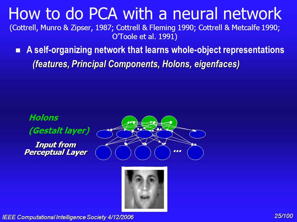 IEEE Computational Intelligence Society 4/12/2006 24/100 How to do PCA with a neural network (Cottrell, Munro & Zipser, 1987; Cottrell & Fleming 1990;
