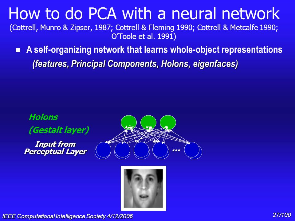 IEEE Computational Intelligence Society 4/12/2006 26/100 How to do PCA with a neural network (Cottrell, Munro & Zipser, 1987; Cottrell & Fleming 1990;