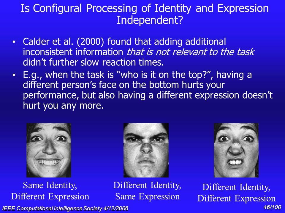 Composite vs. non-composite facial expressions (Calder et al. 2000) Network ErrorsHuman Reaction Times (error bars indicate one standard deviation)