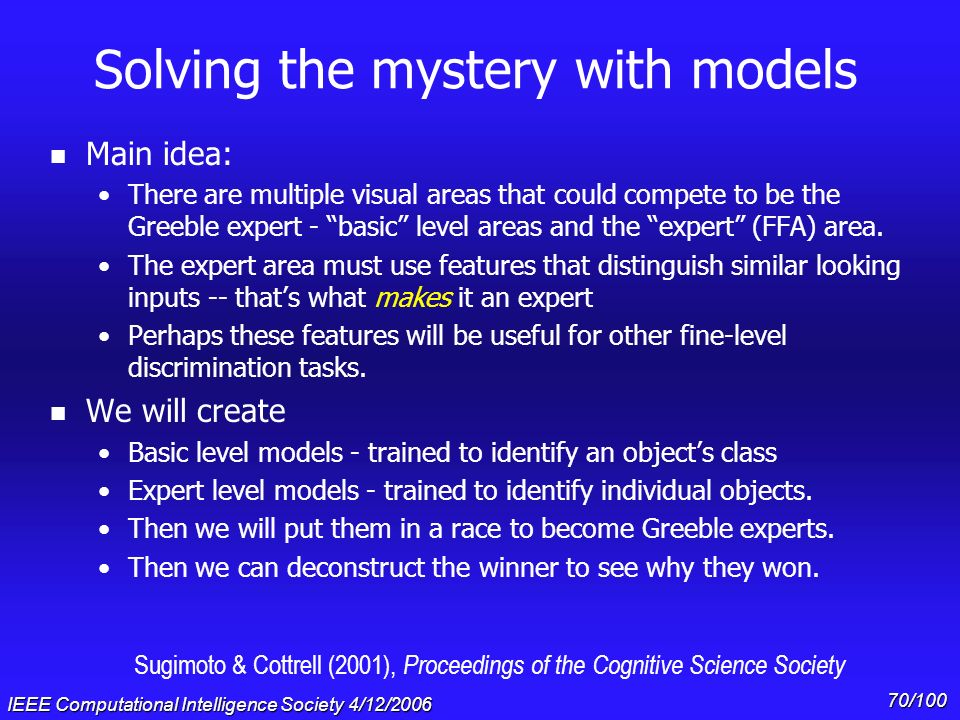 IEEE Computational Intelligence Society 4/12/2006 69/100 The visual expertise mystery n If the so-called Fusiform Face Area (FFA) is specialized for f