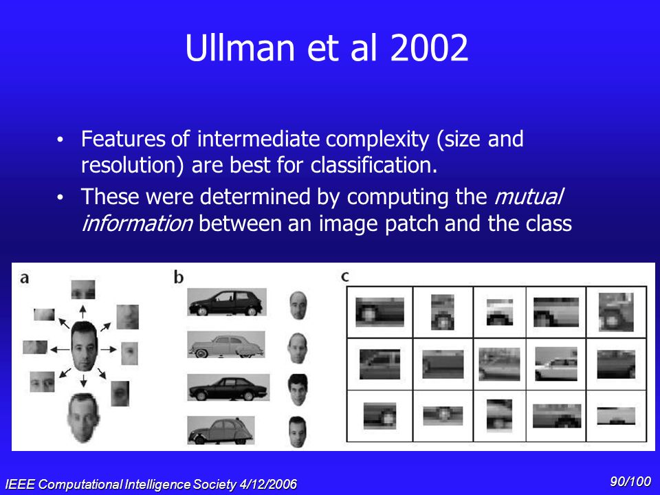 IEEE Computational Intelligence Society 4/12/2006 89/100 Where do we look next #2: Mutual Information Ullman et al. (2002) proposed that features of i