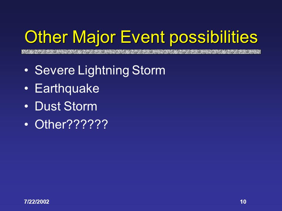 7/22/ Other Major Event possibilities Severe Lightning Storm Earthquake Dust Storm Other
