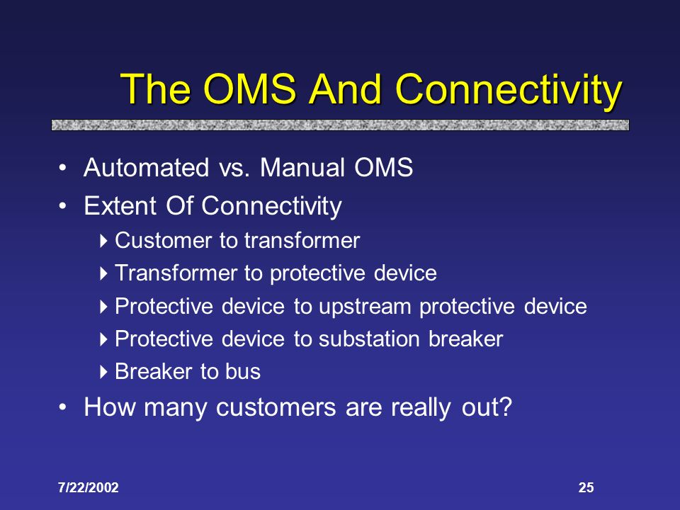 7/22/ The OMS And Connectivity Automated vs.