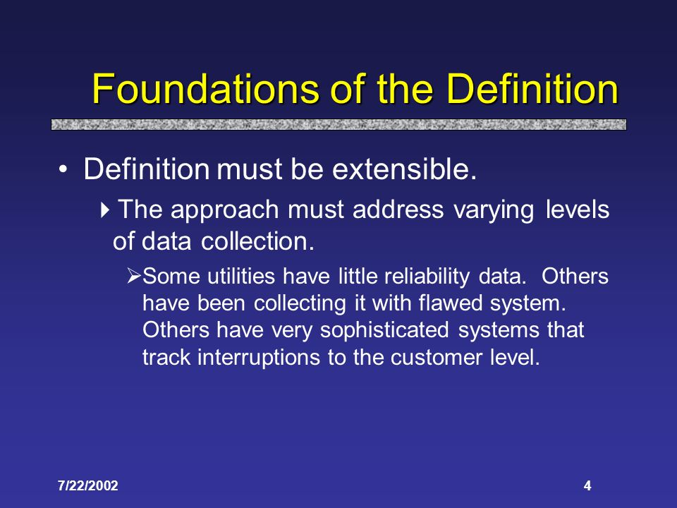 7/22/20024 Foundations of the Definition Definition must be extensible.