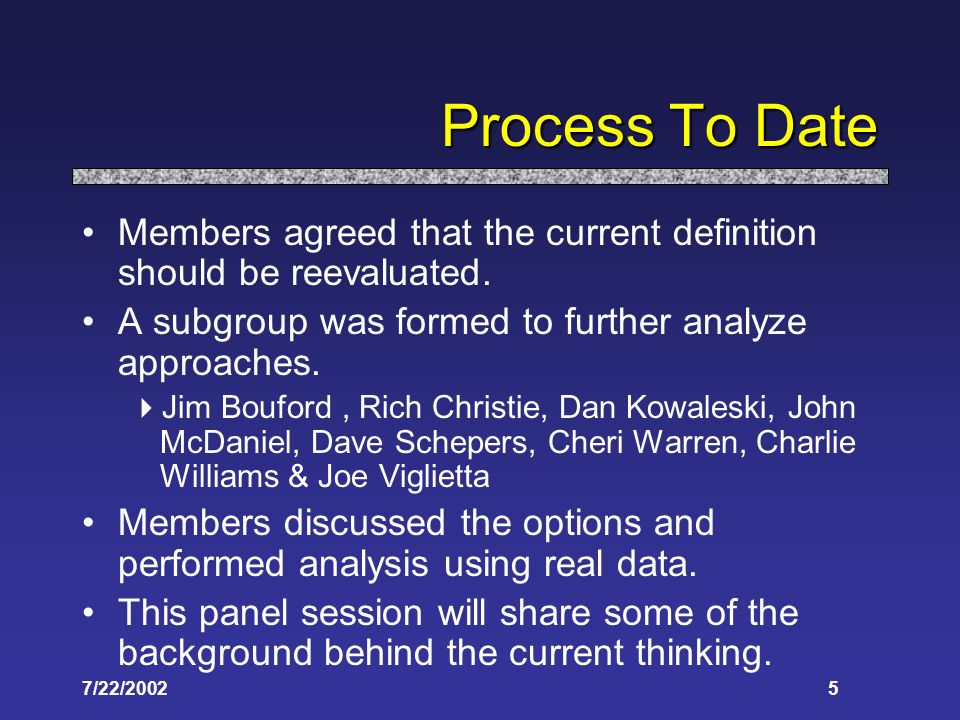 7/22/20025 Process To Date Members agreed that the current definition should be reevaluated. A subgroup was formed to further analyze approaches. Jim