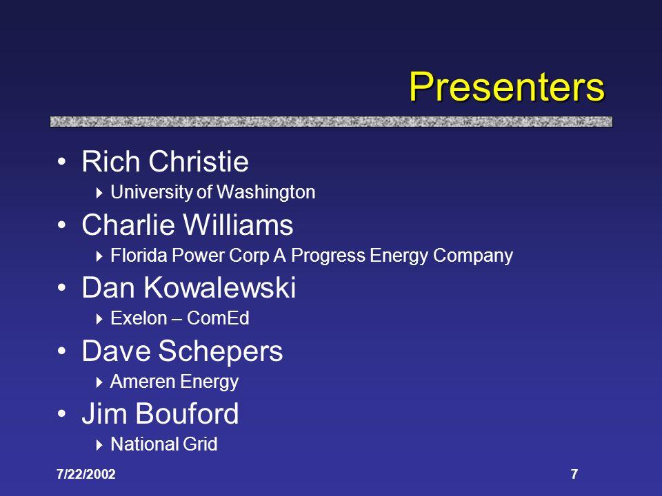 7/22/20027 Presenters Rich Christie University of Washington Charlie Williams Florida Power Corp A Progress Energy Company Dan Kowalewski Exelon – Com