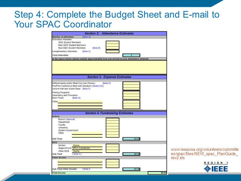 17   es/spac/files/NEW_spac_PlanGuide_ rev2.xls Step 4: Complete the Budget Sheet and  to Your SPAC Coordinator