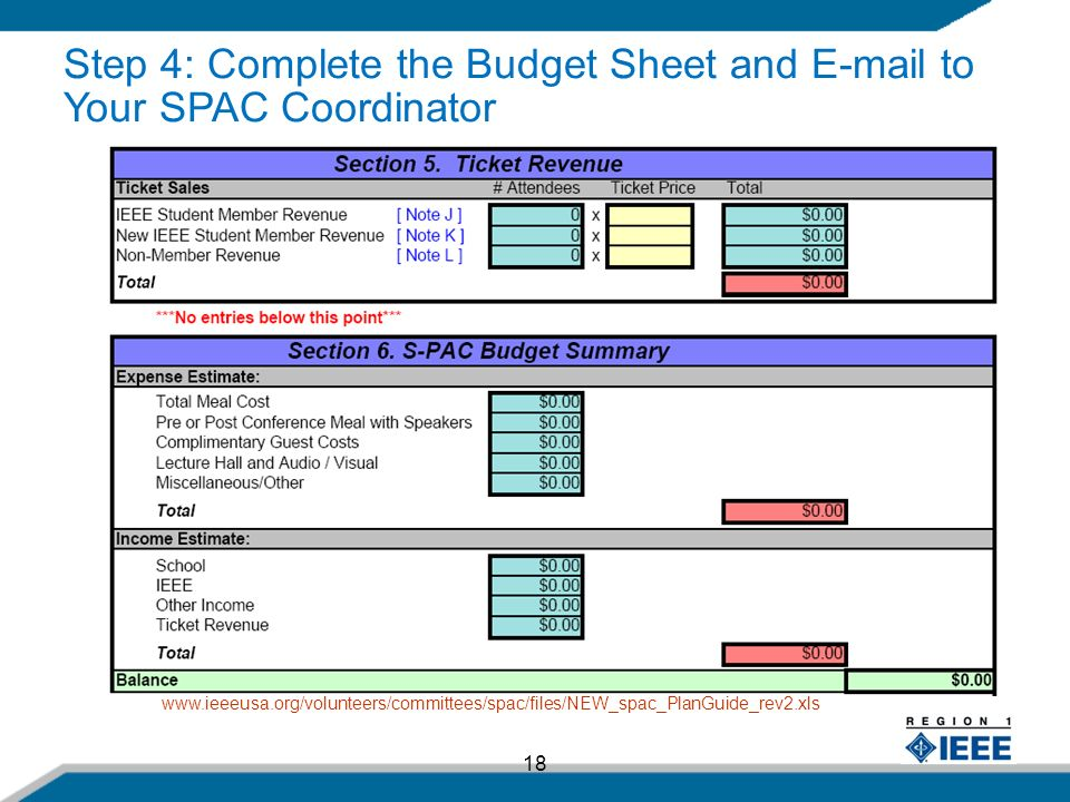 18   Step 4: Complete the Budget Sheet and  to Your SPAC Coordinator