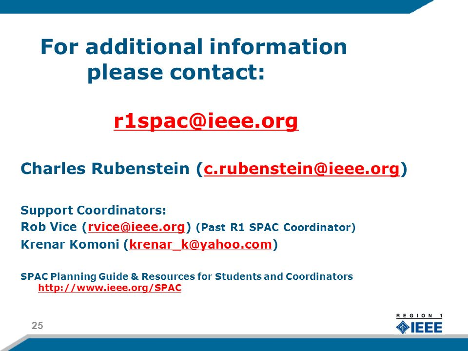 For additional information please contact: Charles Rubenstein Support Coordinators: Rob Vice (Past R1 SPAC Coordinator) Krenar Komoni SPAC Planning Guide & Resources for Students and Coordinators
