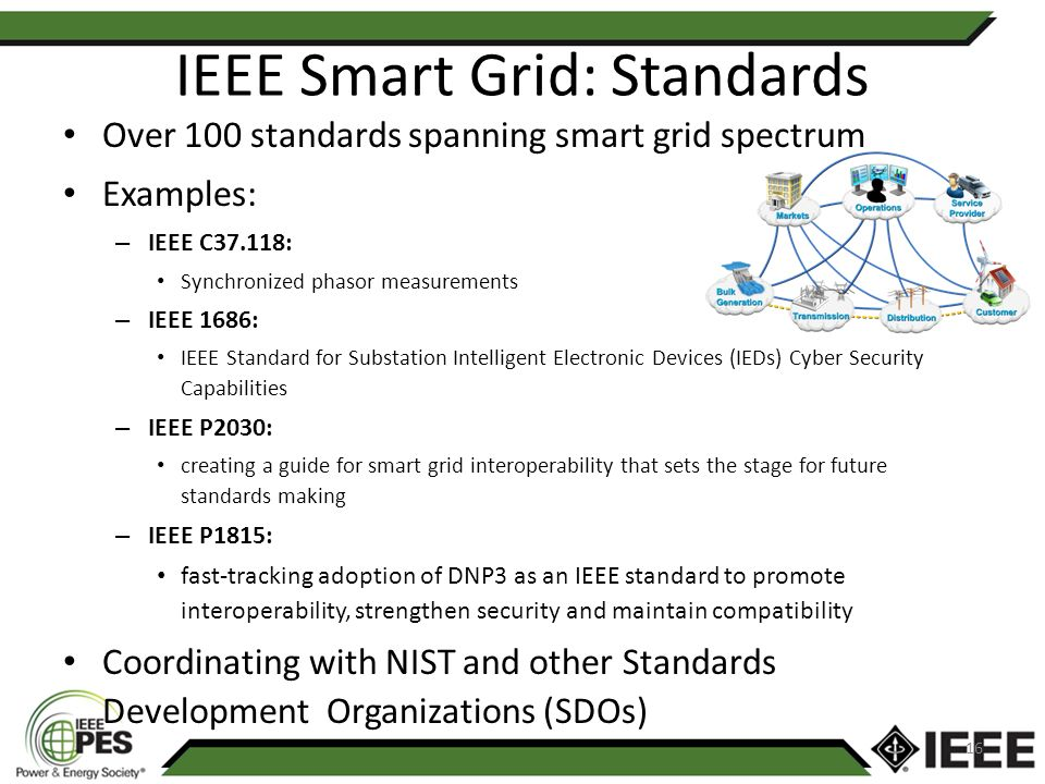 IEEE Smart Grid: Standards Over 100 standards spanning smart grid spectrum Examples: – IEEE C37.118: Synchronized phasor measurements – IEEE 1686: IEEE Standard for Substation Intelligent Electronic Devices (IEDs) Cyber Security Capabilities – IEEE P2030: creating a guide for smart grid interoperability that sets the stage for future standards making – IEEE P1815: fast-tracking adoption of DNP3 as an IEEE standard to promote interoperability, strengthen security and maintain compatibility Coordinating with NIST and other Standards Development Organizations (SDOs) 16
