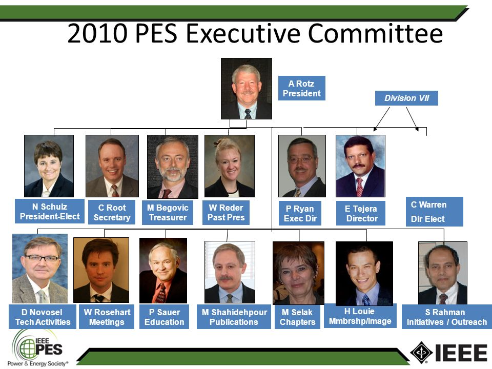 2010 PES Executive Committee Vice-Presidents A Rotz President N Schulz President-Elect C Root Secretary M Begovic Treasurer W Reder Past Pres P Ryan Exec Dir D Novosel Tech Activities W Rosehart Meetings P Sauer Education M Shahidehpour Publications M Selak Chapters H Louie Mmbrshp/Image S Rahman Initiatives / Outreach E Tejera Director Division VII C Warren Dir Elect
