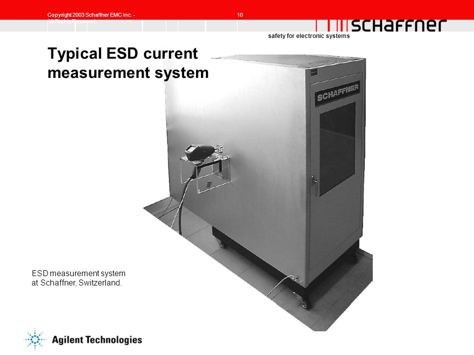 Copyright 2003 Schaffner EMC Inc. - All Rights Reserved 10 safety for electronic systems Typical ESD current measurement system ESD measurement system
