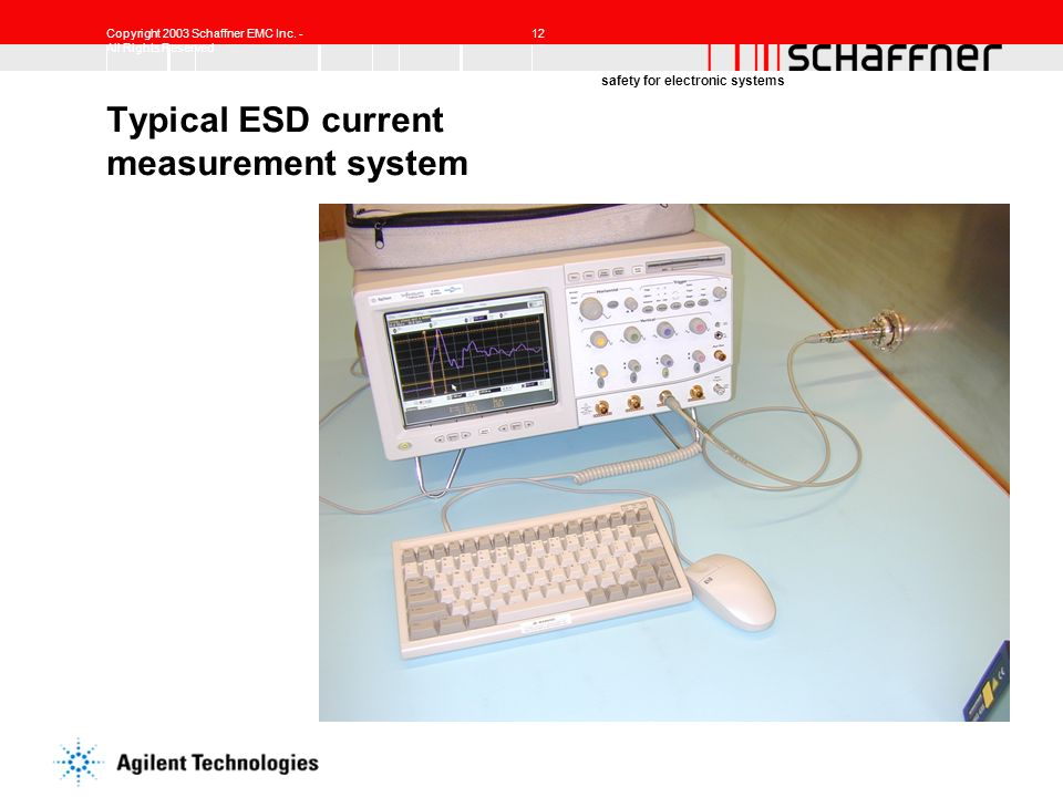 Copyright 2003 Schaffner EMC Inc. - All Rights Reserved 12 safety for electronic systems Typical ESD current measurement system