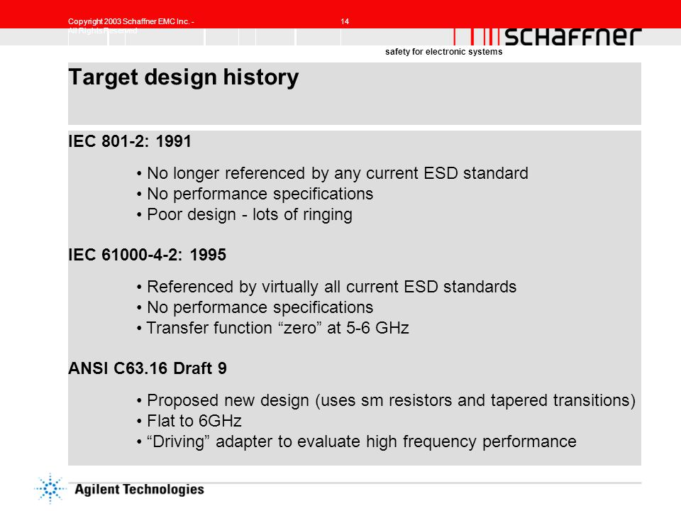 Copyright 2003 Schaffner EMC Inc. - All Rights Reserved 14 safety for electronic systems Target design history IEC 801-2: 1991 No longer referenced by