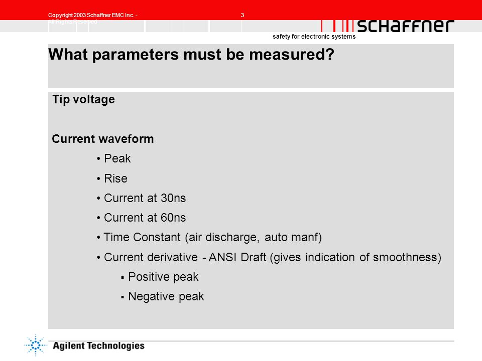 Copyright 2003 Schaffner EMC Inc. - All Rights Reserved 3 safety for electronic systems What parameters must be measured? Tip voltage Current waveform