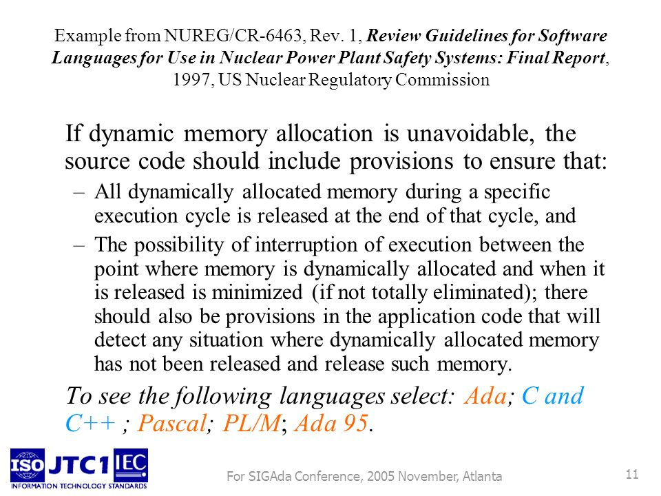For SIGAda Conference, 2005 November, Atlanta 11 Example from NUREG/CR-6463, Rev.