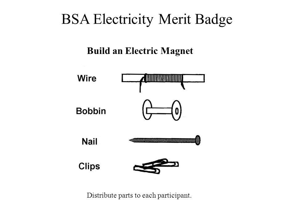 BSA Electricity Merit Badge Build an Electric Magnet Distribute parts to each participant.