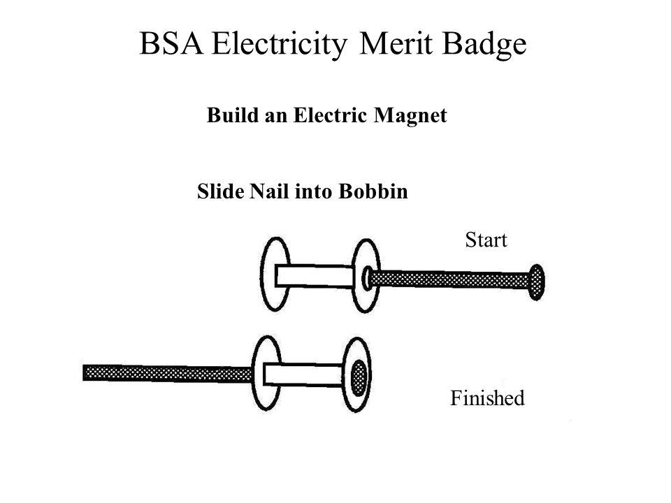 BSA Electricity Merit Badge Slide Nail into Bobbin Start Finished Build an Electric Magnet