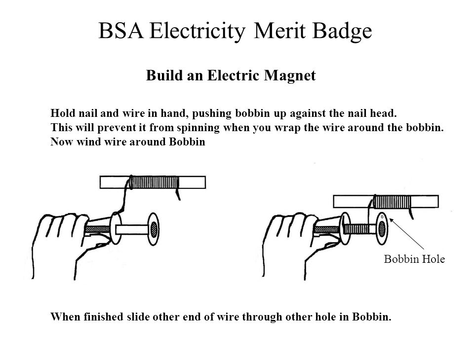 BSA Electricity Merit Badge Hold nail and wire in hand, pushing bobbin up against the nail head. This will prevent it from spinning when you wrap the