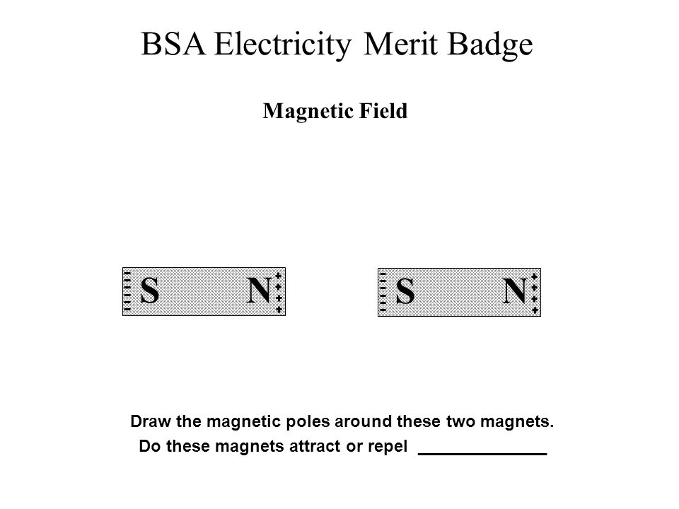 BSA Electricity Merit Badge Draw the magnetic poles around these two magnets. Do these magnets attract or repel ______________ Magnetic Field S N S N