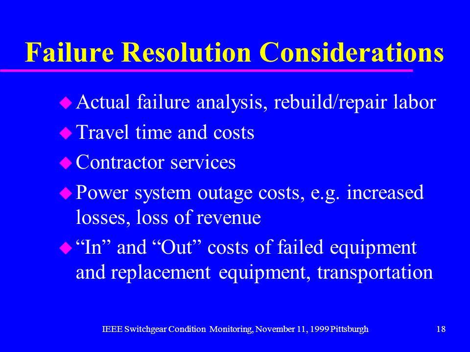 IEEE Switchgear Condition Monitoring, November 11, 1999 Pittsburgh18 Failure Resolution Considerations u Actual failure analysis, rebuild/repair labor