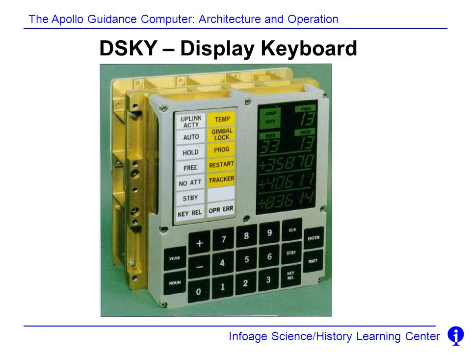 Infoage Science/History Learning Center The Apollo Guidance Computer: Architecture and Operation DSKY – Display Keyboard