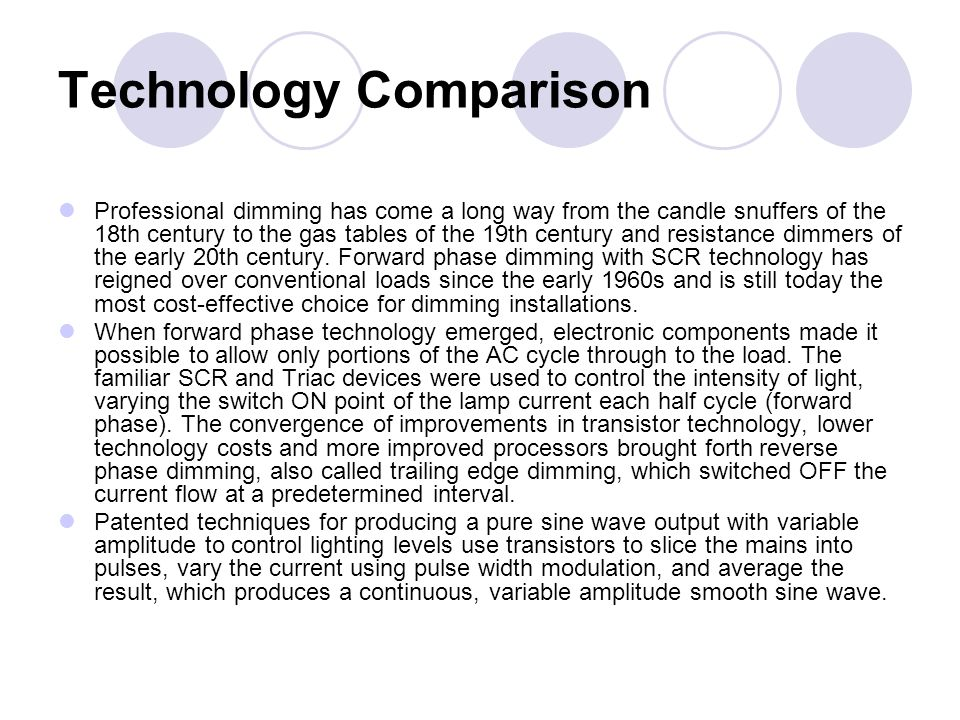 Technology Comparison Professional dimming has come a long way from the candle snuffers of the 18th century to the gas tables of the 19th century and