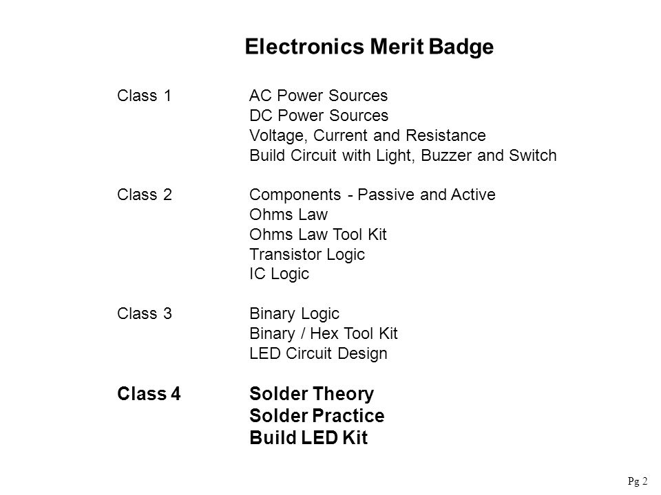 Electronics Merit Badge Class 1AC Power Sources DC Power Sources Voltage, Current and Resistance Build Circuit with Light, Buzzer and Switch Class 2Co