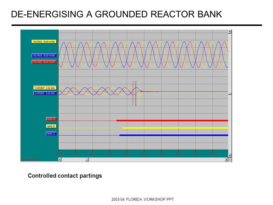 2003-04 FLORIDA WORKSHOP.PPT DE-ENERGISING A GROUNDED REACTOR BANK Controlled contact partings