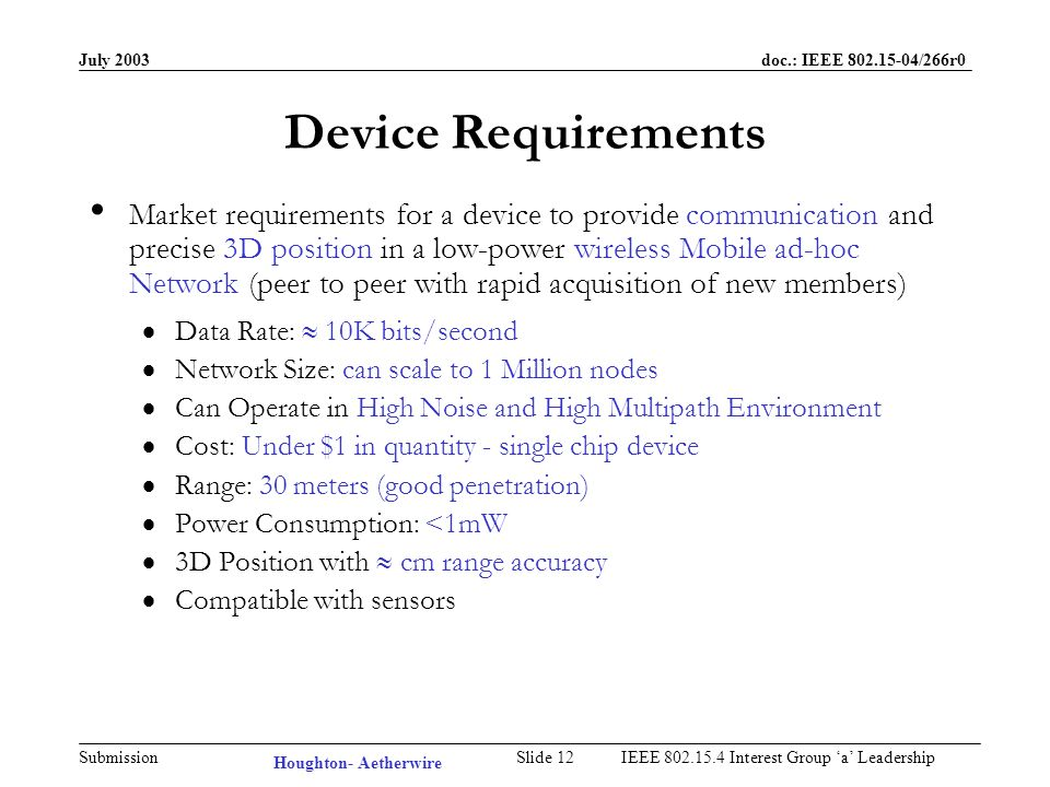 July 2003 doc.: IEEE /266r0 Submission Slide 11IEEE Interest Group a Leadership Machine-to-Machine (M2M) Wireless Sensor Networks for Industrial Automation & Control –Wiring for sensors fixed to pipes can cost $10 to $25 per foot –Thousands of temperature monitoring points in typical installation –Cost of wiring exceeds cost of sensor Office and Home Automation –HVAC Controller Wire Replacement –Office/Home Security Systems Robots in Manufacturing –Mobile robot navigation & docking –Relieve robots from cables & avoid expensive infrastructure Large Potential Market for low-power, mobile, ad-hoc networks –Also known as: Invisible Networks, Ad-hoc Networks, Mesh Networks –Most solutions dont address LOCATION Houghton- Aetherwire
