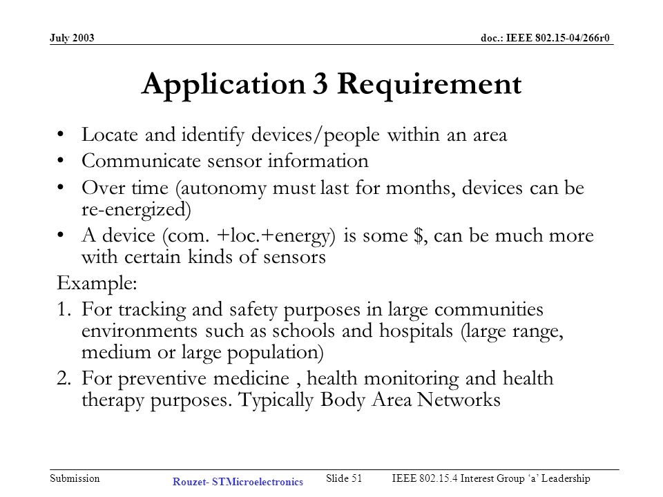 July 2003 doc.: IEEE /266r0 Submission Slide 50IEEE Interest Group a Leadership Typical Application 3 Networks of wearable mobile devices Rouzet- STMicroelectronics
