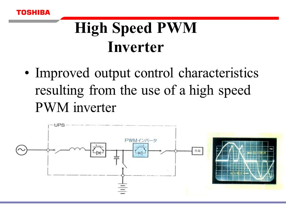 High Speed PWM Inverter Improved output control characteristics resulting from the use of a high speed PWM inverter 16kHz Switching Frequency Supports nonlinear loads with minimal voltage distortion