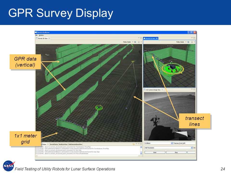 24Field Testing of Utility Robots for Lunar Surface Operations GPR Survey Display transect lines 1x1 meter grid GPR data (vertical)