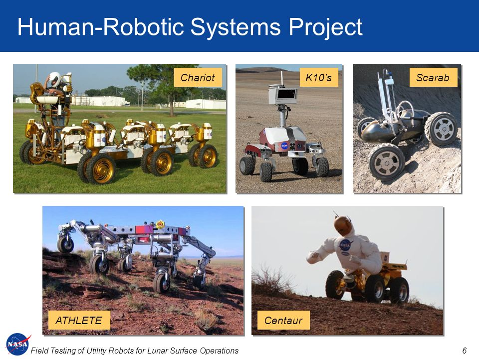 6Field Testing of Utility Robots for Lunar Surface Operations Human-Robotic Systems Project ChariotK10sScarab ATHLETECentaur
