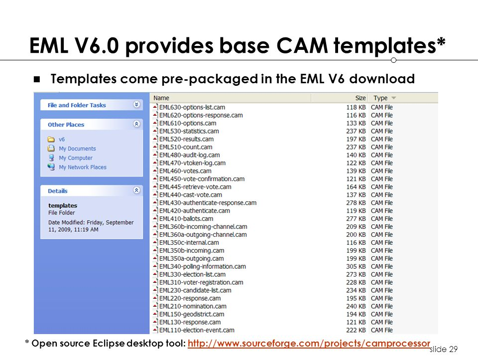 slide 29 EML V6.0 provides base CAM templates* Templates come pre-packaged in the EML V6 download * Open source Eclipse desktop tool: http://www.sourc