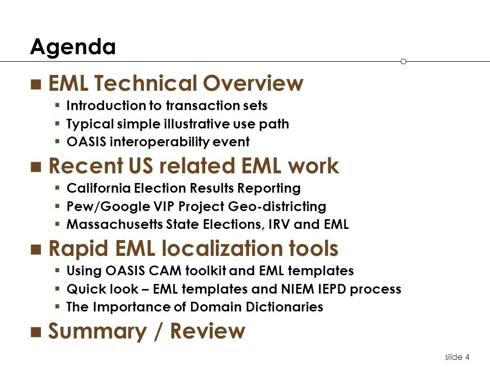 slide 25 Localization Key Components XML Schema 2 1 3 4 Documentation Readable information use details ( HTML ), EML cross-reference Spreadsheet XML artifacts The localized XSD Schema and picklist.xml Examples & Test Cases Realistic test XML instances for conformance and interoperability testing Key components (aka IEPD*) EML Schema XSD aligns voting information model, processes and domain dictionary *IEPD – Information Exchange Package Documentation