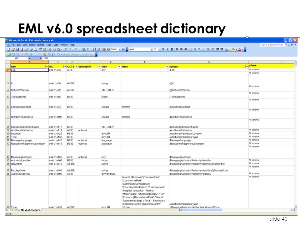 slide 40 EML v6.0 spreadsheet dictionary