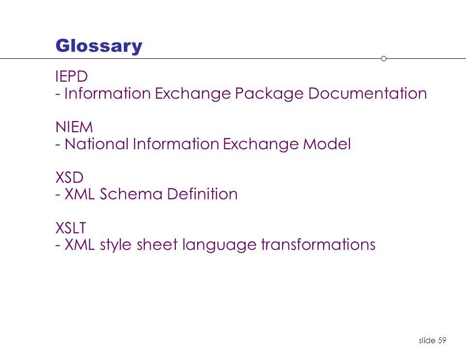 slide 59 IEPD - Information Exchange Package Documentation NIEM - National Information Exchange Model XSD - XML Schema Definition XSLT - XML style sheet language transformations Glossary