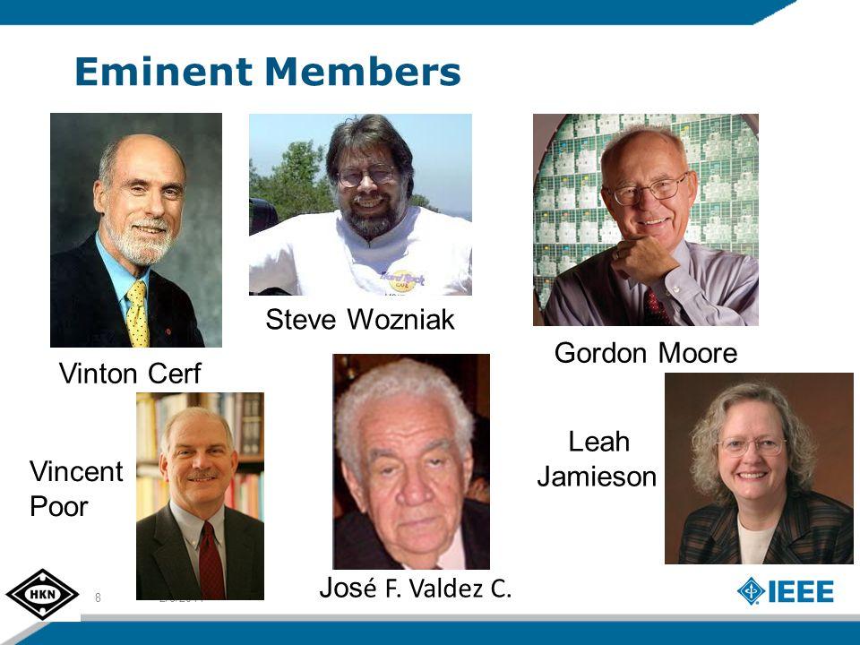 Eminent Members 2/8/20148 Vinton Cerf Steve Wozniak Gordon Moore Vincent Poor Leah Jamieson Jos é F.