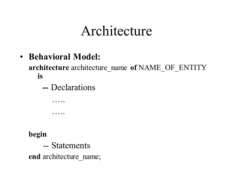 Architecture Behavioral Model: architecture architecture_name of NAME_OF_ENTITY is -- Declarations …..