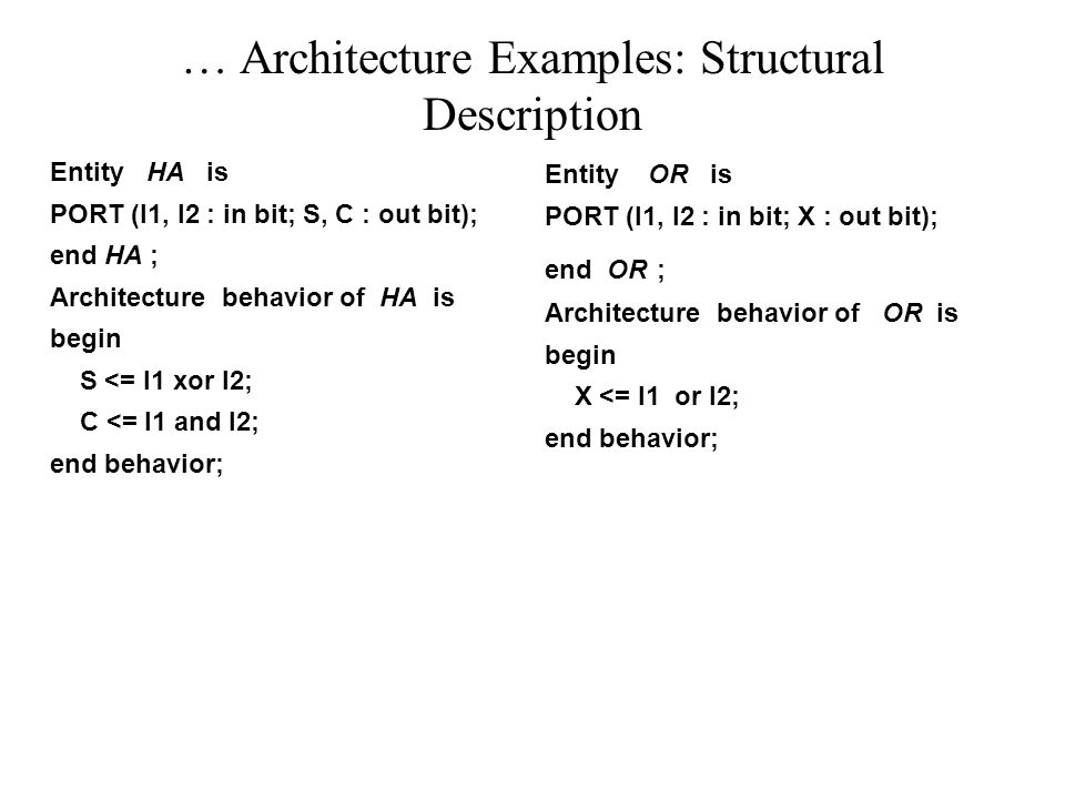 … Architecture Examples: Structural Description Entity HA is PORT (I1, I2 : in bit; S, C : out bit); end HA ; Architecture behavior of HA is begin S <= I1 xor I2; C <= I1 and I2; end behavior; Entity OR is PORT (I1, I2 : in bit; X : out bit); end OR ; Architecture behavior of OR is begin X <= I1 or I2; end behavior;